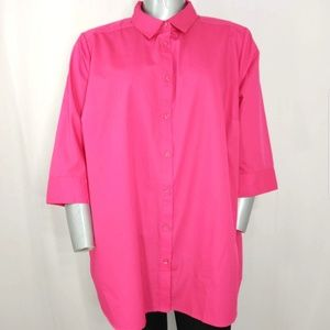 Roaman's Top 3/4 Sleeve Button Collar Shirt 28W